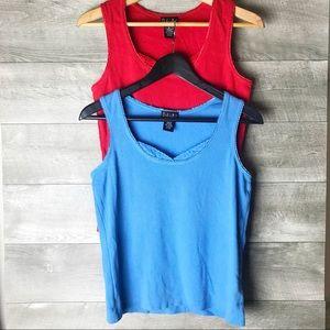 rafaella set of  2 lace trim tank tops red blue